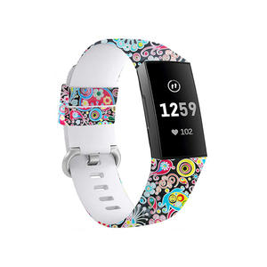 Water Transfer Replacement Silicone Fitbit Watch Bands for Fitbit Charge 3