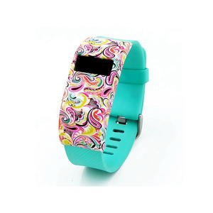 Water Transfer Pattern Style Silicone Watch Cover Case For Fitbit Charge HR