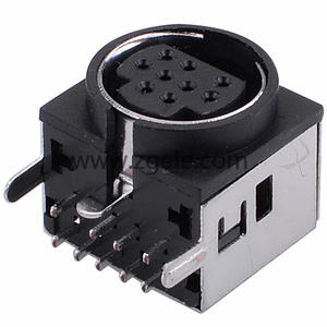china Dip Mini Din 9 pin connector with 90 degree shield housing factory
