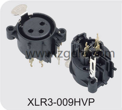 Low price 3 pole vertical XLR audio/light receptacle factory,XLR3-009HVP
