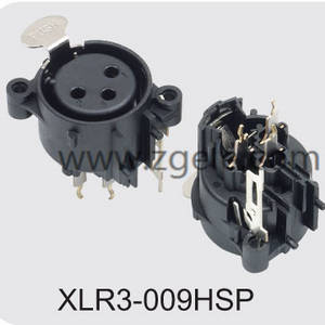 3 pole vertical XLR audio/light receptacle,XLR3-009HSP