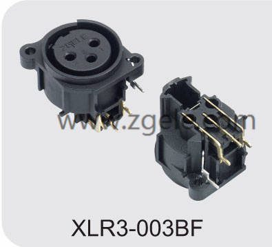 Low price XLR female receptacle with RoHs certificate factory,XLR3-003BF