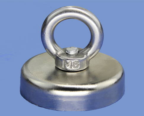 Counterbore Neodymium Magnet Pot N35 60mm dia X 15mm thick With M8 Eyebolt