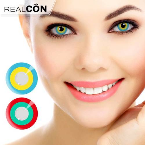 Realcon Wholesale Bright Red & Green Circle Prescription Contact Lenses Factory