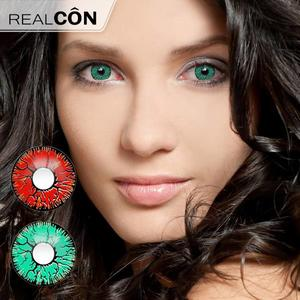 Realcon Contact Color Lenses Red&Green Crack Cosplay Colors Lenses Supplier