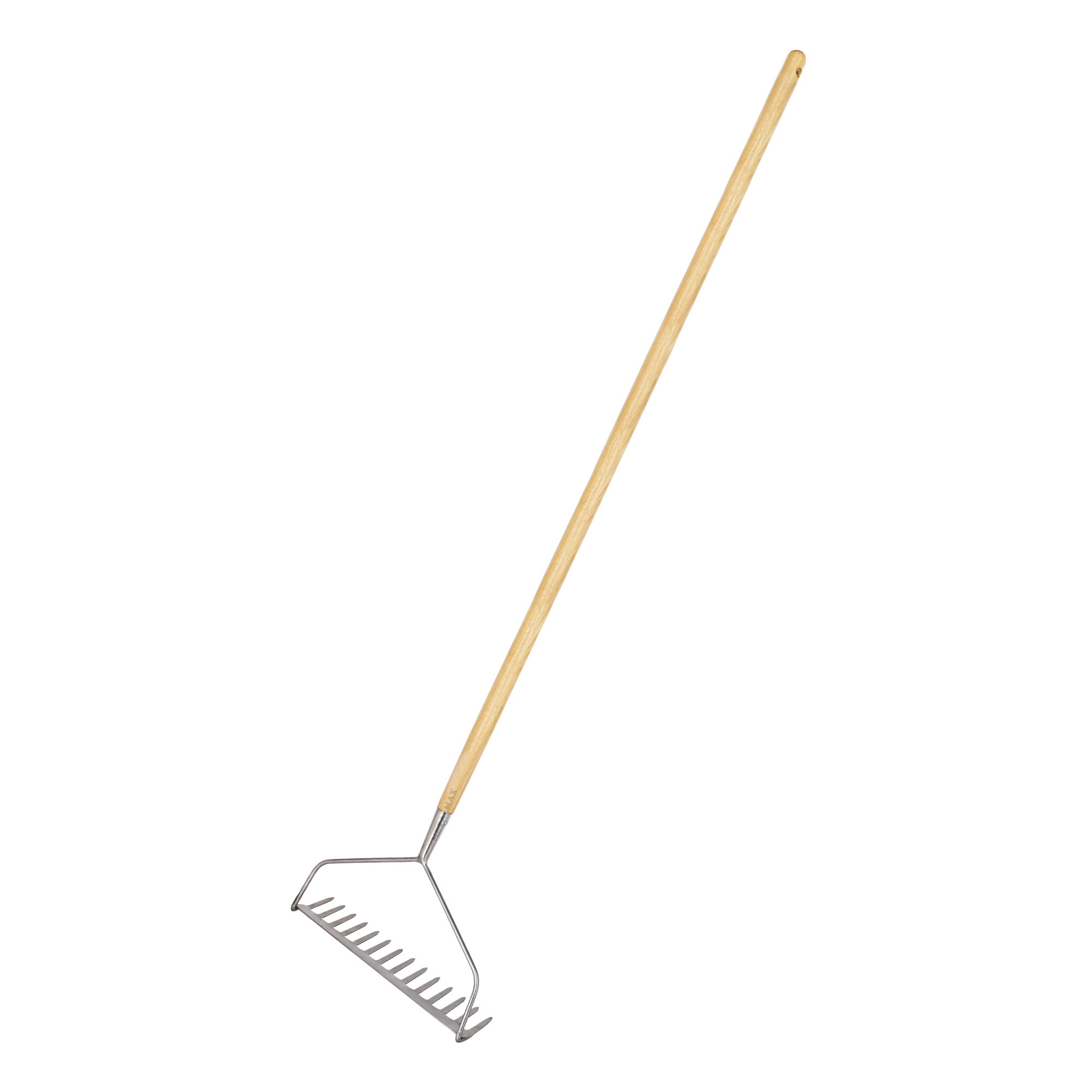 stainless steel long handled soil rake