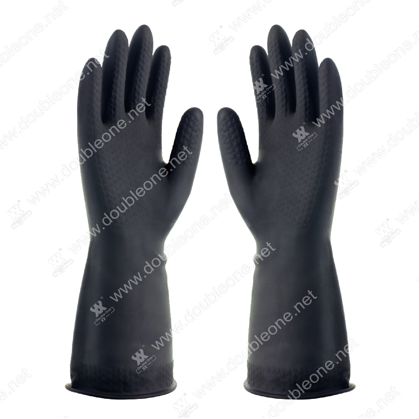 Double One black latex industrial gloves