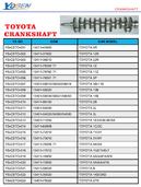 TOYOTA CRANK SHAFT LIST