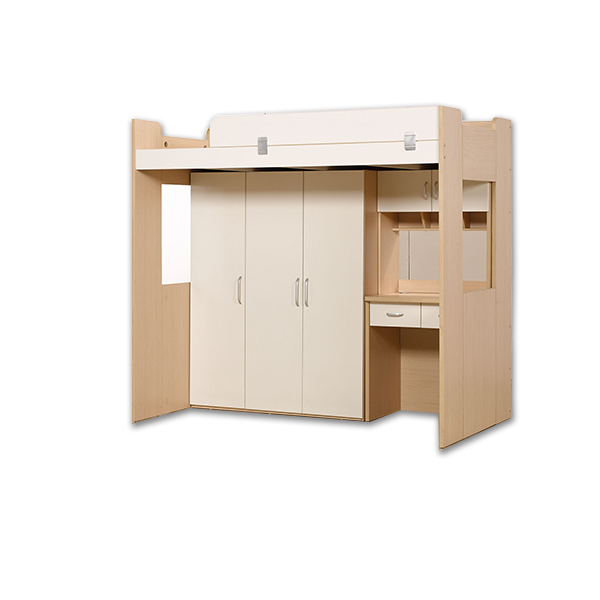 Children Wood Bunk Bed With Desk And Wardrobe