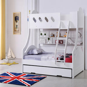 Solid Wood Kid Bed For Boys With Ladders White Children'S Furniture Bed Sets