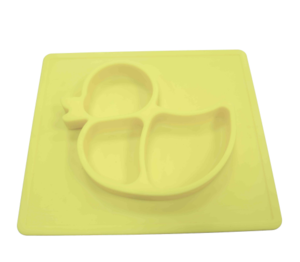 Customized Cute Duck OEM Silicone Placemat Plate Promotes Self-feeding