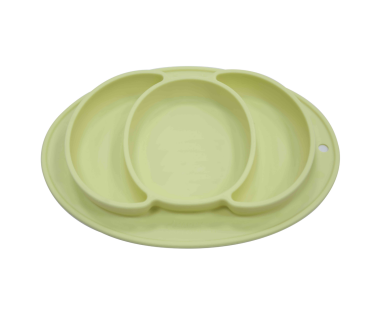BPA free silicone baby plate promotes self-feeding