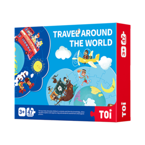 TOI Double-sided Puzzle Travel Around The World Paper Jigsaw Puzzles For Kids 47 Pieces