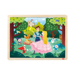 TOI Classic Puzzle Prince & Princess 24pcs Wooden Jigsaw Puzzle With Storage Tray Educational Toy For Kids