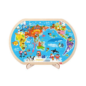 TOI Classic Puzzle 80pcs World Map Wooden Jigsaw Puzzle With Storage Tray Educational Toy For Kids