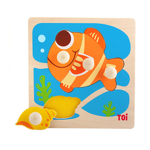 TOI Early Education Peg Puzzle Goldfish 4pcs Wooden Puzzle With Storage Tray Educational Toy For 0-3 Years