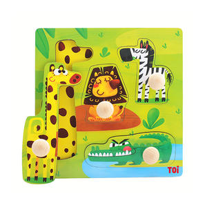 TOI Early Education Peg Puzzle Animal 4pcs Wooden Puzzle With Storage Tray Educational Toy For 0-3 Years