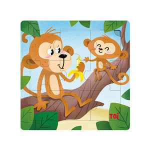 TOI Mother And Kid Monkey 9pcs Wooden Jigsaw Puzzle With Storage Tray Educational Toy For 0-3 Years