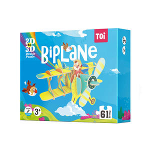 TOI 2D To 3D Jigsaw Puzzle 2 In 1 Double Puzzle Children's Educational Jigsaw Puzzle For Kids