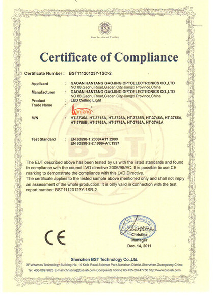 CE 2 certification of led ceiling light