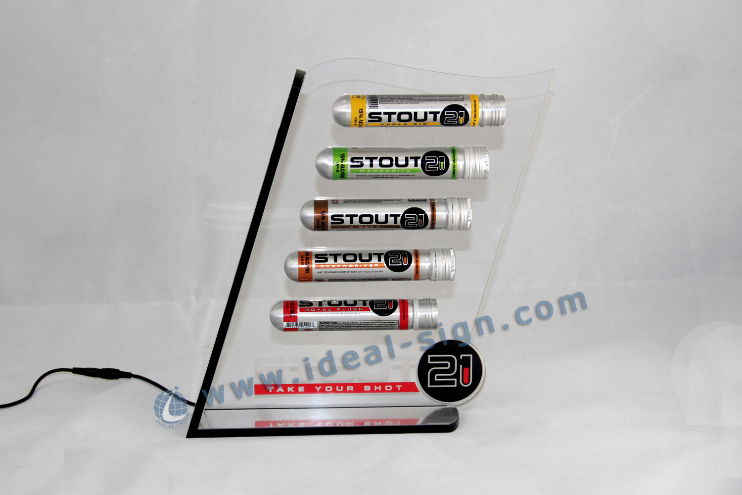Acrylic LED Lighted Liquor shelf for displaying