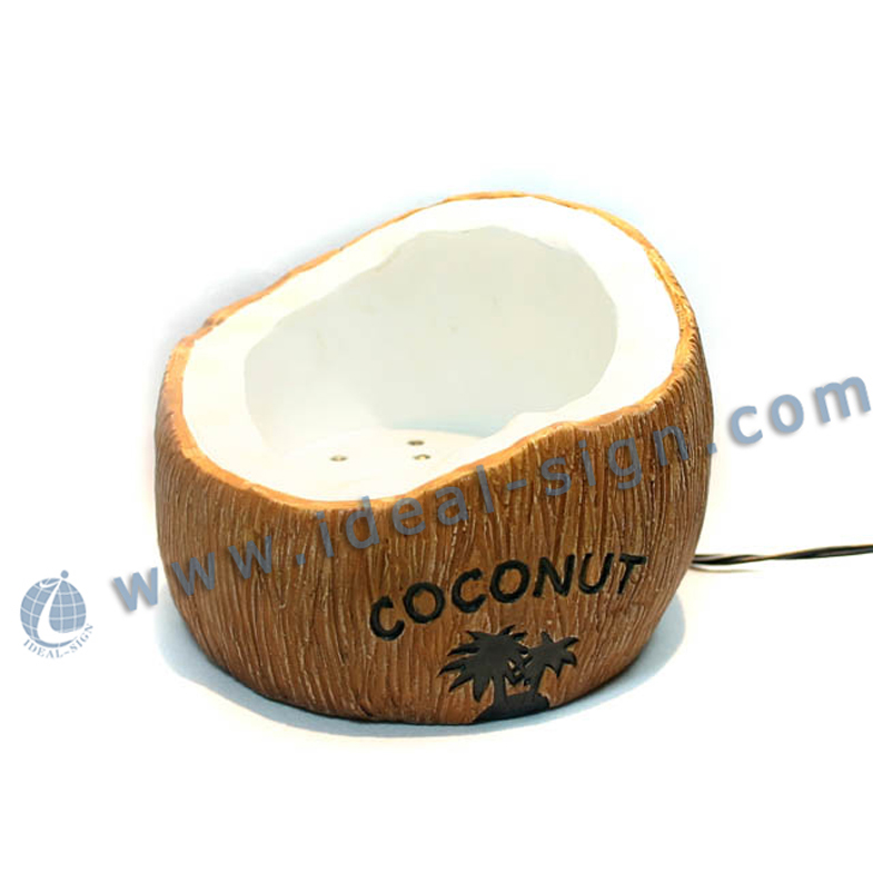 Hot sale Coconut Shape Resin Led Liquor Bottle Displays