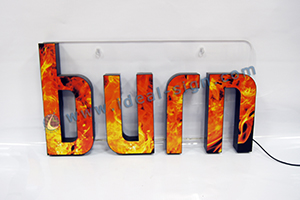 LED resin sign for BURN display
