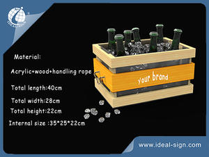 customized plastic wine bucket with wood decoration in bulk quantity