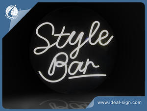 Wall Mounted Bar Flex Neon Signs With Transparent Acrylic Panel As Background