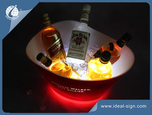 Wholesale plastic beer ice bucket with lighted led base customized brand name and logo
