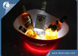 Plastic PP Illuminated  Ice Bucket / Bucket  Chiller with LED Lighted Base