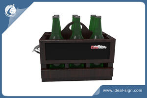 6 Pack Bottle Wooden Beer Caddy With Chalkboard And Metal Opener