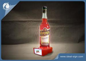 Orange Acrylic LED Wine Liquor Bottle Display With White Lights And Special Shape