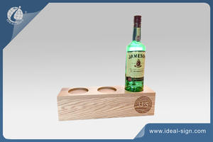 3 Bottle Wooden Liquor Bottle Display