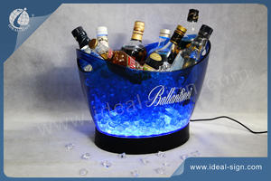 Wholesale Plastic Ice Buckets Beer Coolers with 40pcs LEDs inside for Bar and Parties Tubs