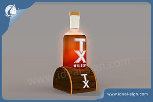 Custom made illuminated Wooden Wine Liquor Bottle Display Stand for wholesale