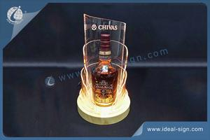 Wholesale custom led bar bottle display wine bottle glorifier with wooden base