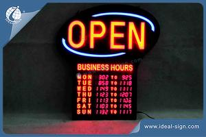 Shop Open Sign With Business Hours And Digital Number