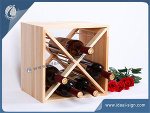Square Shape Wooden Wine Rack Carton Designed For Displaying Or Storing 30 * 30 * 24CM