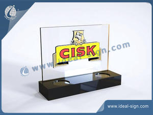 CISK Luminous Acrylic Wine Bottle Display Rack For Two Bottles