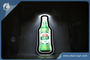 Wholesale custom bottle shape slim led illuminated sign led crystal light box.