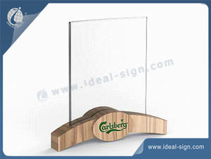 Acrylic Menu Holder With Wooden Base
