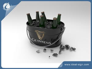 Customized Guinness Tinplate Party Tube Metal Material Bottle Ice Buckets