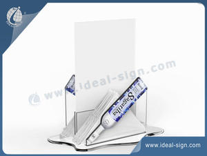 Unique Design Bottle Shape Acrylic Menu Display With Napkin Holder OEM/ODM
