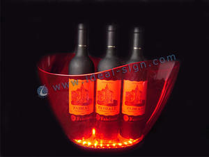 Wholesale plastic acrylic party beverage tubs led beer ice buckets PS ABS material 36pcs Leds