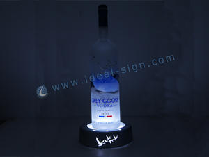 Acrylique Couleur Silvery LED Wine Liquor Bottle Display