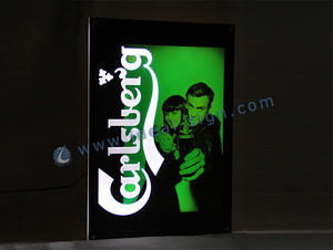 Wholesale Custom slim lighted signs crystal beer signs for indoor use