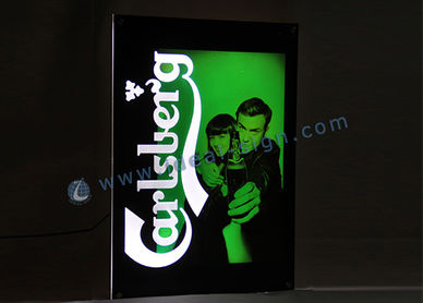 Bar Carlsberg sinal de LED Light Box Slim exibição com o costume gravado Logo