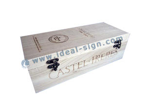 China supplier for simple style wine wood gift box with two metal clips