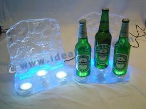 Exposição de garrafa de cubo de gelo acrílico de LED